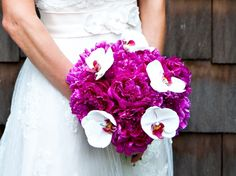 Fuchsia peonies with white orchids