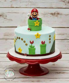 super mario cake ~ super mario bros - super mario bros party ideas - super mario cake - super moist banana bread - super m - super mario - super mario birthday party - super m kpop Super Mario Bros, Super Mario Torte, Mario Bros Cake, Luigi Cake, Super Mario Cupcakes, Mario Birthday Cake, Birthday Cake Kids Boys, Super Mario Birthday, Birthday Parties