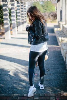 workout leggings and leather jacket // www.polishedclosets.com Up to 50% discount plus free shiiping on all order. Get the best yoga pants and workout leggings in the market at afordable prices!