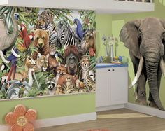 Jungle Animals Easy Up Wall  Mural - Wall Sticker Outlet