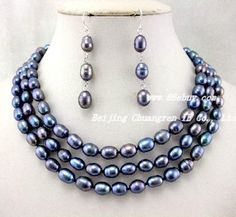 """Aliexpress.com : Buy Free shipping Wholesale retail genuine 16.5 19"""" 3rows peacock blue freshwater pearls necklace earring from Reliable freshwater pearl suppliers on wholesale pearl gem coral Turquoise necklace"""