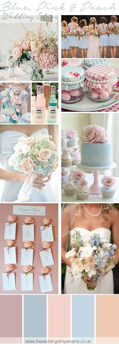 Blue, Pink And Peach Wedding Inspiration and Ideas