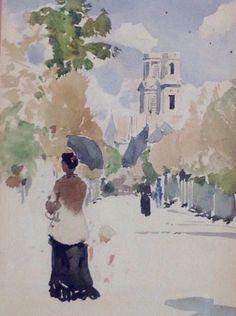 Dame et ombrelle à Saint Sulpice - H. Zuber - Paris vers 1900 - Aquarelle 9x16 - Coll. part.