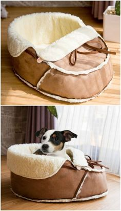 Sherpa Moccasin Cat Bed And Dog Bed Is Perfect For Your Furbabies Cute Dog Beds, Diy Dog Bed, Pet Beds, Cute Dogs, Dog Furniture, Dog Rooms, Diy Stuffed Animals, Dog Accessories, Dog Care