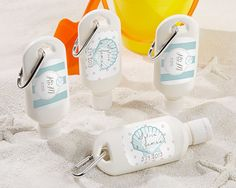Personalized sunscreen bottles are the perfect favor for a destination wedding or a seaside celebration!
