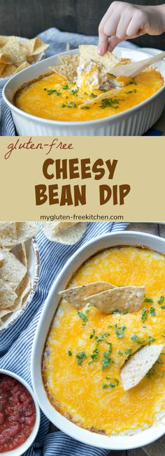 Gluten-free Cheesy Bean Dip recipe This is a great cheesy bean dip served with tortilla chips, but is also perfect as a burrito filling. You can make this bean dip meatless or extra meaty, depending on your preference! Gluten Free Appetizers, Gluten Free Snacks, Easy Appetizer Recipes, Foods With Gluten, Healthy Appetizers, Easy Snacks, Appetizers For Party, Easy Meals, Appetizer Ideas