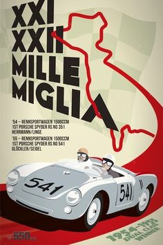 550 images over 550 days of a 550 spyder Art Deco Posters, Car Posters, Poster Prints, Vintage Italian Posters, Graphisches Design, Design Ideas, Porsche 550, Vintage Racing, Vintage Posters
