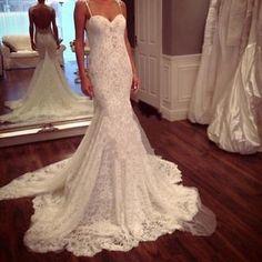 Vintage Open Back Mermaid Wedding Dresses Spaghetti Strap Sweetheart Bridal Gown