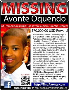 Missing child. Please repin. - http://bronx.news12.com/news/search-intensifies-for-avonte-oquendo-missing-autistic-boy-from-queens-1.6258055