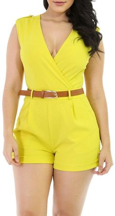 HOTAPEI Women V Neck Wrap Buckle Up Short Pants Sleeveless Jumpsuit Romper with Belt