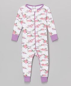 Another great find on #zulily! Lilac & White Floral Organic Playsuit - Infant #zulilyfinds