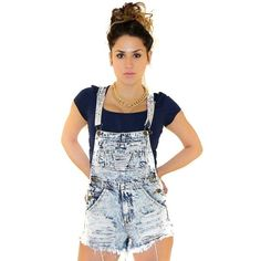 Acid Wash Distressed Denim Overalls in Blue ($30) ❤ liked on Polyvore featuring jumpsuits, rompers, overalls, romper, playsuit romper, blue romper, shorts overalls, cut-off and short overalls
