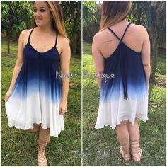 Ombre style dresses Gorgeous fully lined navy ombre flowy style dress. Price is firm unless bundled. S(2/4) M(6/8) L(10/12) Dresses