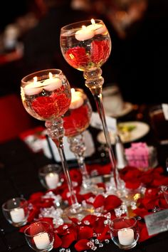 Red Black White Wedding.  Center pieces.  Candle holders on mirrors with red roses and crystals. Alcoholic Drinks, Wine, Glass, Food, Alcoholic Beverages, Drinkware, Vines, Corning Glass, Eten