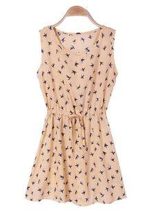 Sale 29% (12.82$) - Round Neck Sleeveless Slim Fit Belted Dress