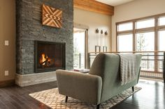 We LOVE the slate fireplace in Blog Cabin's great room.