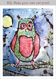 Make Owl Prints with collagraph