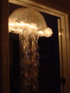 Jelly Fish from a clear dome umbrella, rope lights and bubble wrap made by Rene Hatalovsky in December 2012