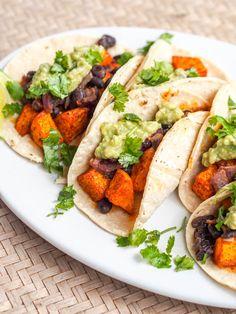 Vegan Butternut Squash Tacos with Chipotle Smoky Black Beans and Avocado Crema