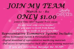 DO YOU HAVE $1? Want to start your own business?! Make extra money?! Work from home?! Do you love candles?! Do you love jewelry?! Join Jewelry in Candles for just $1 now until March 8th!! These candles sell themselves!  Sign up today at http://thegivingcandles.com  #candles #representative #represent #jic #jewelryincandles #sell #deal #jewelry #necklaces #charms #rings #gold #silver #style #scents #love #rep #sale #deal #directsales