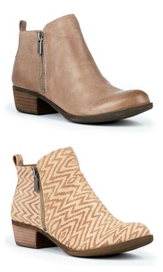 Rugged Lucky Brand leather booties with zippers on both sides, a back pull tab and a stacked heel