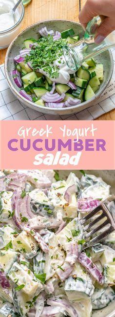 Greek Yogurt Cucumber Salad, Creamy Cucumber Salad, Greek Yogurt Recipes, Cucumber Recipes, Salad Recipes, Diet Recipes, Vegetarian Recipes, Cooking Recipes, Healthy Recipes