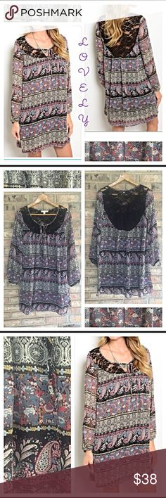 """❗️SHIP DELAY❗️Boho Peasant Paisley Lace  Dress S M Lovely boho peasant semi-sheer tunic dress with stunning multi color paisley pattern. Love the lace front and back panel. Show off your easy breezy style this season with or without leggings/jeans. New from maker without tags. Poly-wrinkle free Measurements laying flat  Small 20"""" Bust 24"""" Waist 34"""" Length Dresses Midi"""