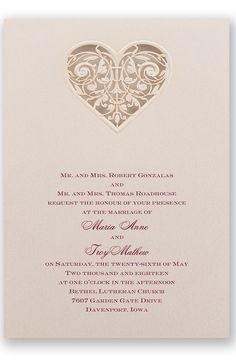 Lacy Heart Wedding Invitation by David's Bridal | Follow us and start pinning pretty paper options - from invitations and save the dates to programs and table numbers - for a chance to win $1,000 to InvitationsbyDavidsBridal.com. Enter here: http://sweeps.piqora.com/rsvpready