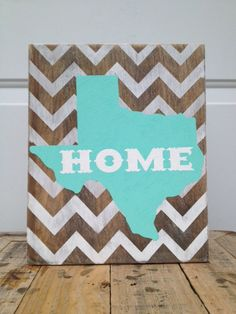 Texas is Home Chevron Sign by SouthernbyChoice on Etsy possible DIY for MI Wood Crafts, Diy And Crafts, Arts And Crafts, Chevron Signs, Chevron Art, Texas Signs, Home Goods Decor, Home Decor, Up House