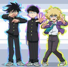Mob Psycho Kageyama Shigeo and Ritsu, and Hanazawa Teruki Anime In, Me Me Me Anime, Manga Anime, One Punch Man, Mob Psycho 100 Wallpaper, Character Art, Character Design, Mob Physco 100, Mob Psycho 100 Anime