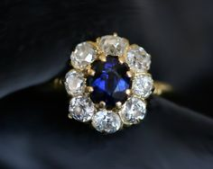Vintage Sapphire & Diamond Cluster Engagement Ring