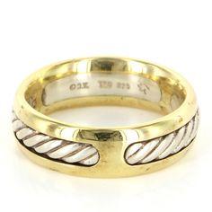 Estate David Yurman 18 Karat Yellow Gold Sterling Silver Mens Rope Wedding Ring