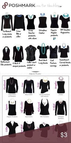 """Necklace Guide """"Cheet Sheet"""" When it comes to the ideal neck candy, there are a . - Necklace Guide """"Cheet Sheet"""" When it comes to the ideal neck candy, there are a myriad of varia - Betsey Johnson, Necklace Length Chart, Necklace Lengths, Necklace For Neckline, Necklace Guide, Fashion Terms, Fashion Guide, Diy Mode, Retro Mode"""