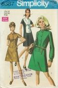 "An unused original ca. 1979 Simplicity Pattern 8387.  Misses' Dress: The topstitched dress with front button closing in shaped bodice front has high rounded neckline, set-in sleeves and optional purchased belt. V.1 and 2 have short sleeves and ""stand-up"" collar. V.2 has contrasting bodice front and collar. Collarless v.3 has long sleeves pleated and gathered to buttoned cuffs. A purchased scarf may be worn at neckline."