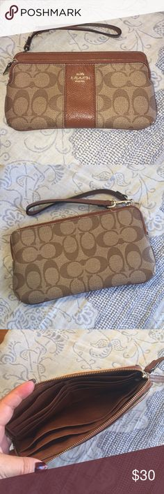 """Coach wristlet Brown and tan leather. Used Good care. Brown and tan. Great condition with minimal wear on bottom corners only. 8""""X4 1/2"""". I ❤️offers! Coach Bags Clutches & Wristlets"""