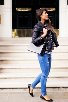 Back To School easy and simple outfit idea - checkered button up shirt, skinny jeans, faux leather jacket https://www.youtube.com/watch?v=ieKgto9vcs4&feature=youtu.be