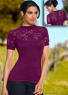 Dark purple lace detail short sleeve sweater w/ button up back
