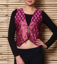 Pink and Brass Poly Jacquard Waist Coat