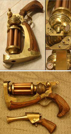 Steampunk Tendencies   Voltaic Hand Cannon MK. III by Shendorion #Pistol #Gun #Design #Steampunk