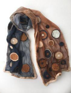 Nuno felted silk chiffon scarf Cinnamon Dots Ombre scarf