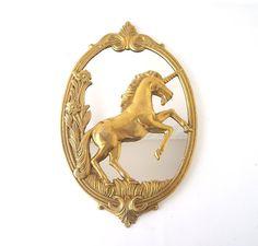 vintage brass unicorn mirror retro home decor by RecycleBuyVintage, $58.00