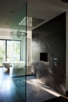 modernism minimalism interior design bathroom open mosaic shower