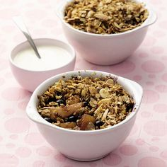 Granola recipe, plus some interesting variations:  (1) Five seed maple granola (2) Black cherry & pistachio cereal bar (3) Pear, fig & blueberry oaty crumble