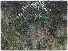 """Exhibition of new works by Anselm Kiefer opens at Galerie Thaddaeus Ropac in Salzburg. """"wohin wit uns wenden im Gewitter der Rosen"""", 280 x 380 cm Anselm Kiefer, Statues, Most Famous Artists, Funny Tattoos, Flower Images, Salzburg, Texture Art, New Words, Art Fair"""