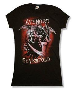 Avenged Sevenfold Reaper Reach Babydoll T-Shirt is a black 100% cotton long…