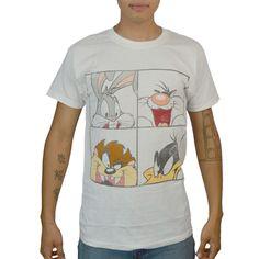 Looney Tunes Bugs Silvestre Taz Lucas Licensed White T-shirt