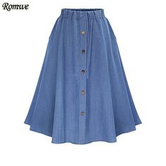 We love it and we know you also love it as well ROMWE Ladies Casual Skirts Summer 2016 New Womens Plain Elastic Waist Denim Flare Pleated Midi Skirt With Buttons just only $14.88 with free shipping worldwide  #womanskirts Plese click on picture to see our special price for you
