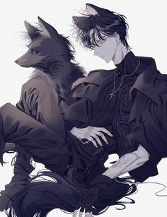 Dark Anime Guys, Cool Anime Guys, Hot Anime Boy, Handsome Anime Guys, Anime Boy Hair, Anime Neko, Anime Wolf, Kawaii Anime, Fan Art Anime