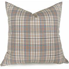 Cream Blue Brown Plaid Cushion Covers by PillowThrowDecor Plaid Throw Pillows, Toss Pillows, Couch Pillows, Cushions, Beige Sectional, Blue Home Decor, Plaid Fabric, Blue Plaid, Decorative Pillows