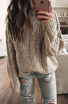 #fall #outfits gray sweater